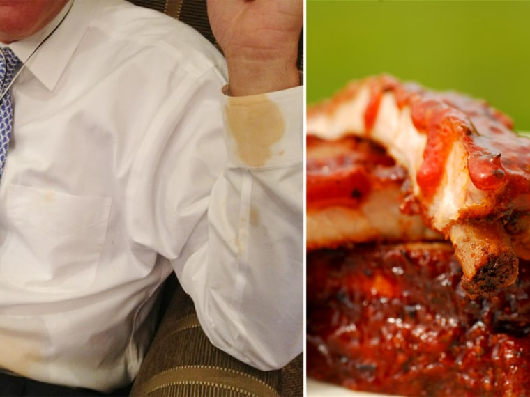 The photo on the left shows Romney proudly sporting his saucy Mississippi barbecue stains.