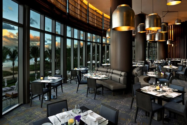 J&G Grill at St. Regis Bal Harbour, Fla., offers Asian- and French-inspired cuisine, with floor-to-ceiling windows overlooking the pool and Atlantic Ocean.