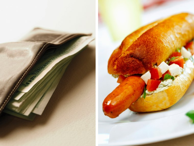 This is just a regular hot dog -- not the pricey dog in question. Can you imagine spending $2,300 on a hot dog?