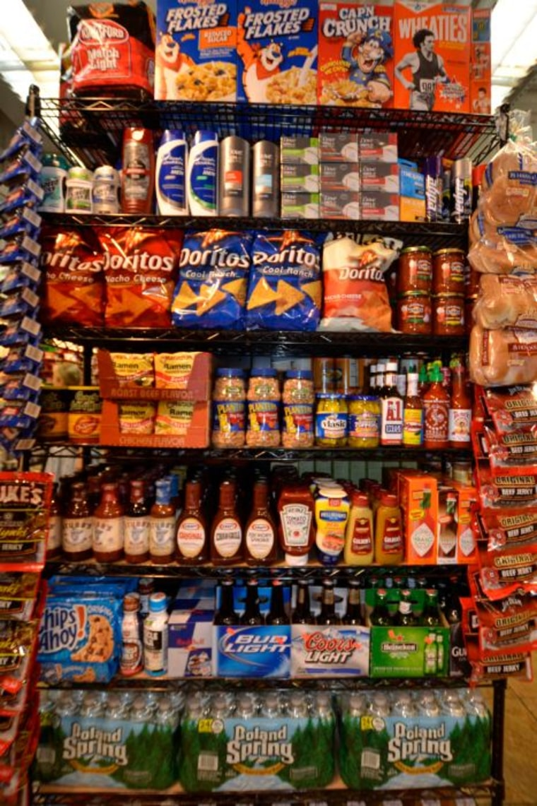 Need beer? Chips? barbecue sauce? It's all here in the 'man aisle.'