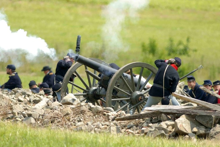 "The Gettysburg National Military Park frequently hosts ""living history"" weekends, when volunteers, in full costume, re-create skirmishes."
