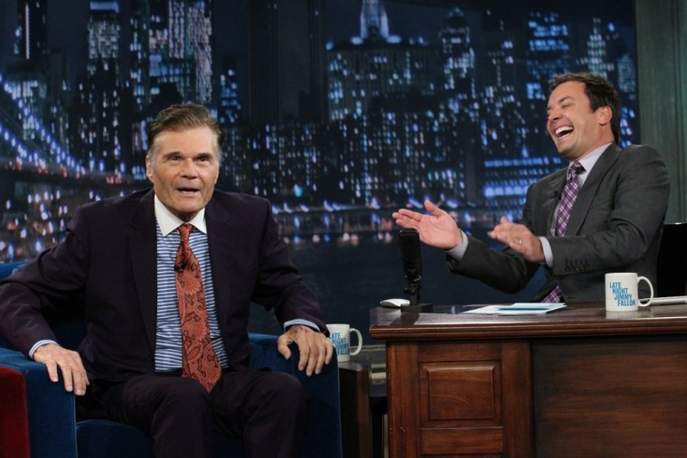 """Fred Willard tells """"Late Night"""" host Jimmy Fallon his side of his recent adult theater arrest."""