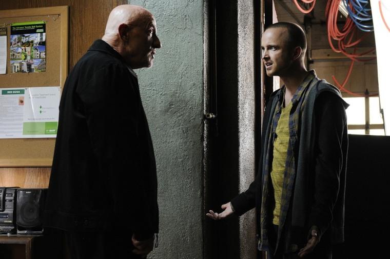 "Mike (Jonathan Banks) and Jesse (Aaron Paul) on ""Breaking Bad."""