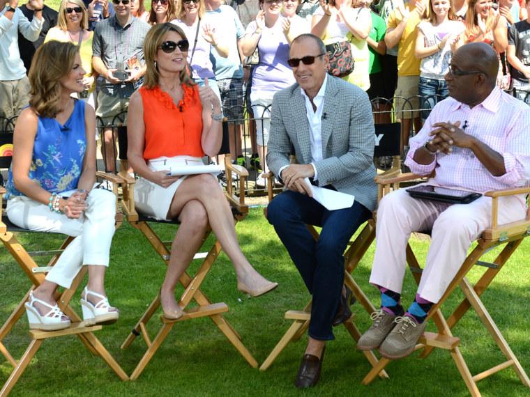 TODAY -- Pictured: (l-r) Natalie Morales, Savannah Guthrie, Matt Lauer, Al Roker -- (Photo by: Dave Hogan/NBC)
