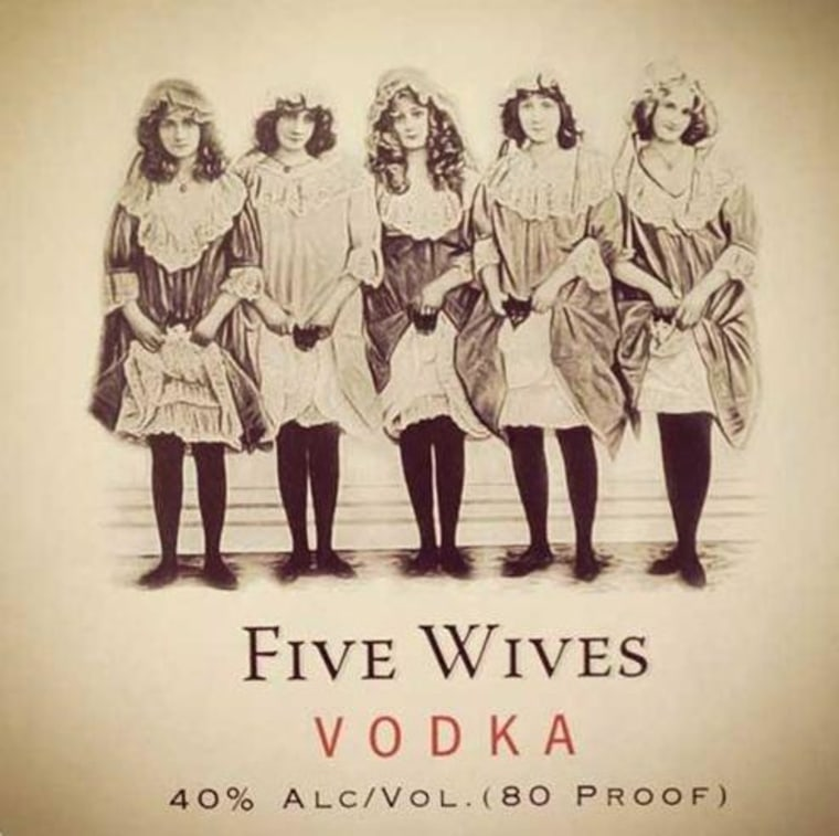 This is the Five Wives Vodka label. The vodka has been banned in Idaho.
