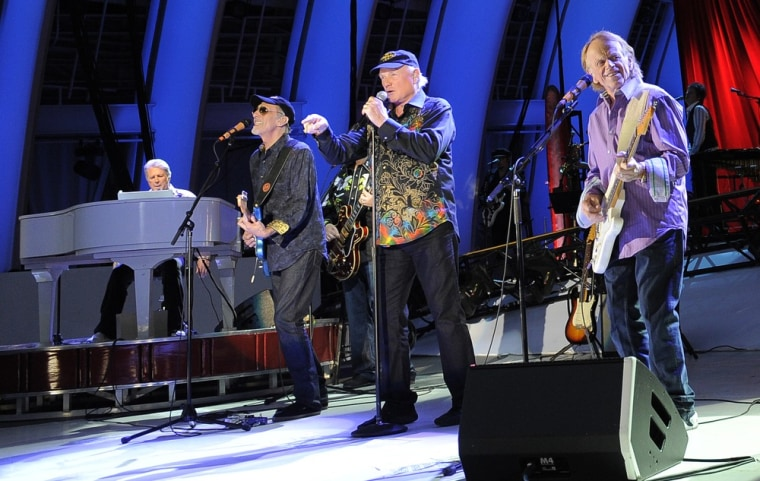 The Beach Boys (from left, Brian Wilson, David Marks, Mike Love and Al Jardine)perform during the band's concert at the Hollywood Bowl on Saturday, June 2 in Los Angeles.