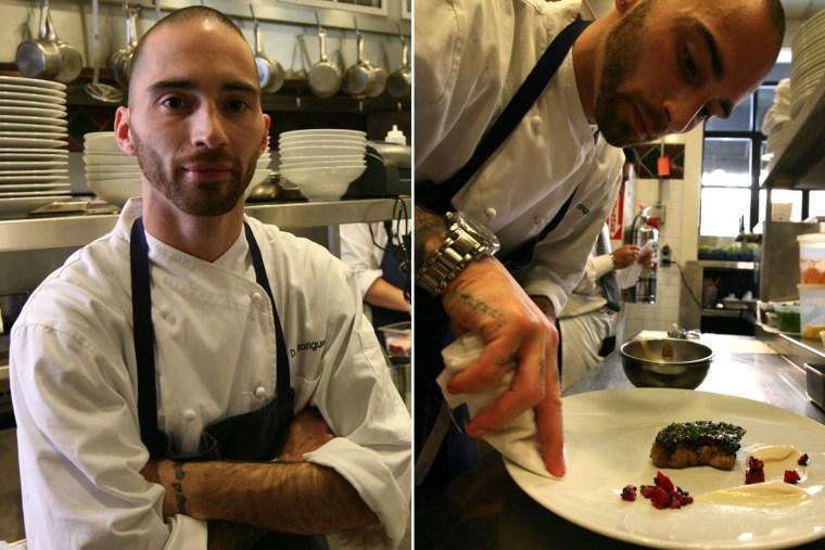 Doug Rodrigues, chef de cuisine at Clio restaurant in Boston, prepares a foie gras dish.