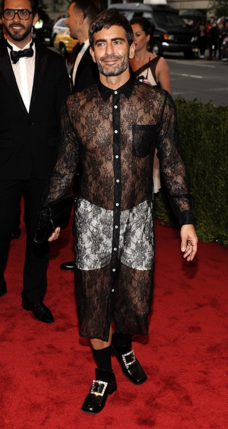 Designer Marc Jacobs wears the button-down dress at the 2012 Met Gala
