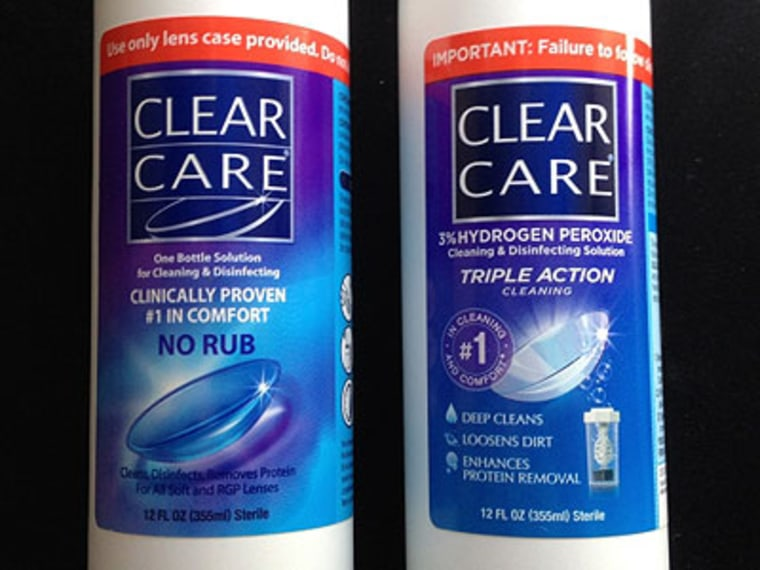 Ciba Vision, makers of Clear Care contact lens cleaner, recently updated the product's packaging and labels. But a patient safety group says the changes aren't enough to halt reports of painful eye injuries.
