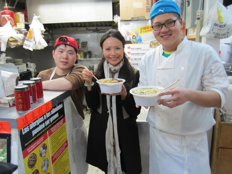 """Ching-He Huang, host of Cooking Channel's """"Easy Chinese,"""" has noodles at one of her favorite Chinese restaurants, Golden Mall in Flushing, New York."""