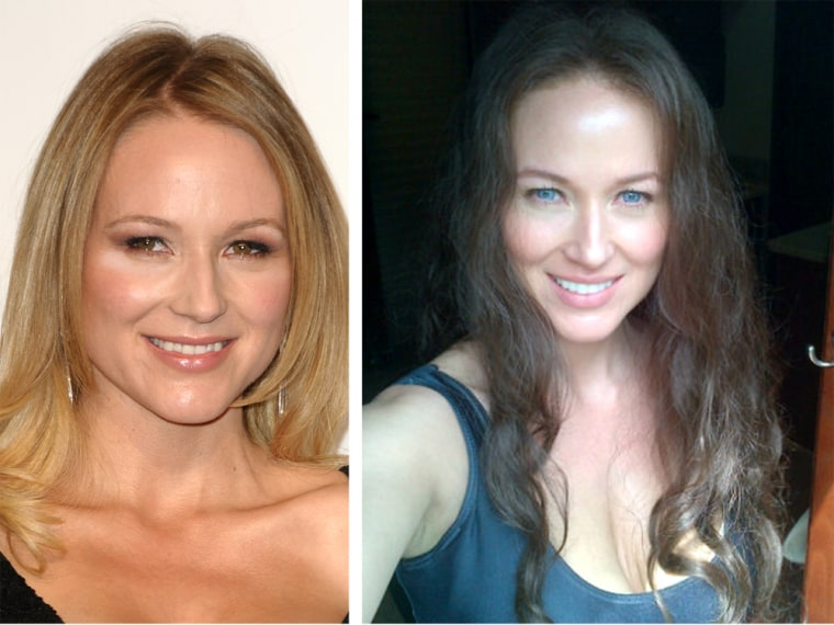 "Jewel with her real smile, left, and ""disguised"" for a film role."