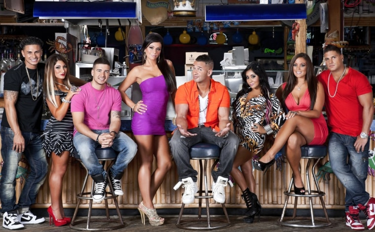 "The cast of ""Jersey Shore,"" from left, DJ Pauly D, Deena,  Vinny, JWoww, The Situation, Snooki, Sammi and Ronnie."