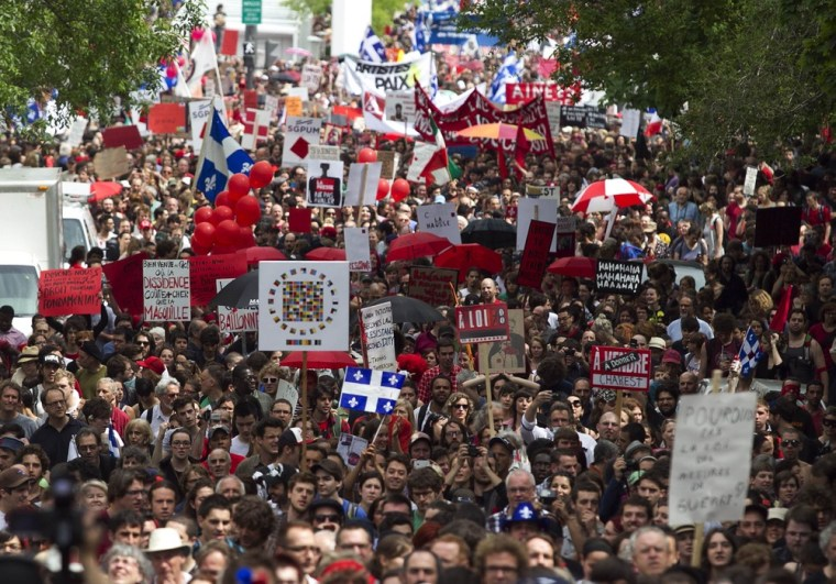 Students protest calmly in Montreal, Quebec City   CBC News