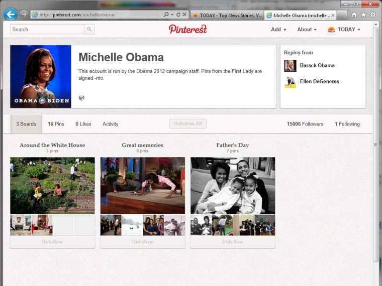 Michelle Obama's Pinterest page.