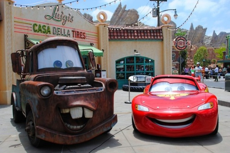 Mater and Lightning McQueen at  California Adventure's new Cars Land.
