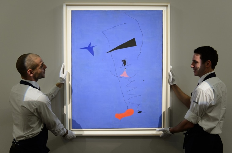 """Joan Miro's """"Peinture (Etolie Bleue), 1927"""" sold at Sotheby's for $36,946,396."""