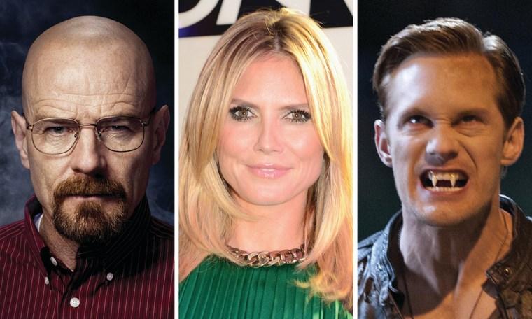 "Bryan Cranston on ""Breaking Bad,"" ""Project Runway's"" Heidi Klum and Alexander Skarsgard on ""True Blood."""