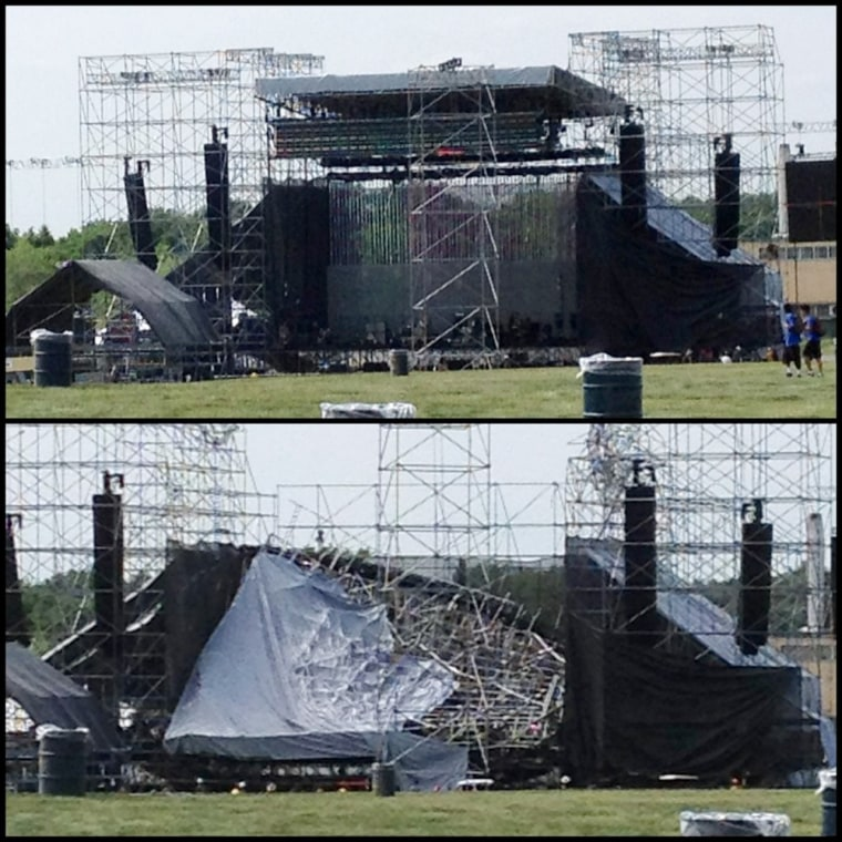 The stage at Downsview Park in Toronto is shown in this combination photograph before (top) and after it collapsed on Saturday, June 16, 2012.