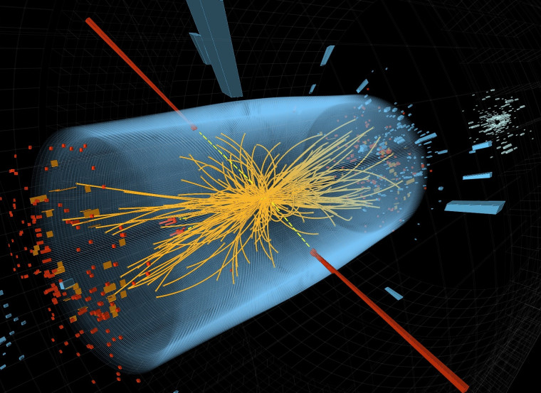 A computer graphic shows a typical Higgs boson candidate event, including two high-energy photons whose energy (depicted by red towers) is measured in the Compact Muon Solenoid's electromagnetic calorimeter. The yellow lines are the measured tracks of other particles produced in the collision. The pale blue volume represents the CMS' crystal calorimeter barrel.