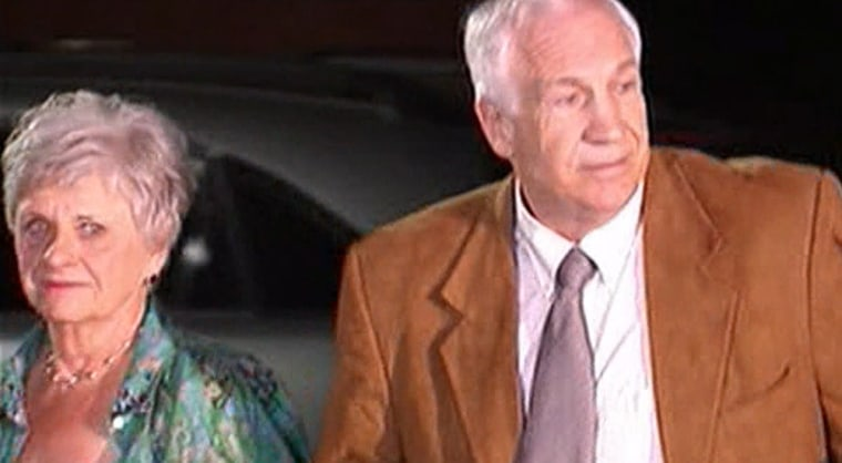 Former Penn State University assistant football coach Jerry Sandusky and his wife Dottie arriving the Centre County Courthouse in Bellefonte, Pa., Friday night