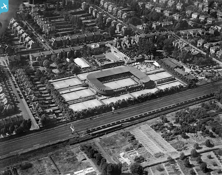 An aerial view of the Wimbledon Championships in 1921, the final incarnation of the tournament at its original location in Worple Road, London. The following year new grounds were opened in Church Road, where the event continues to this day.