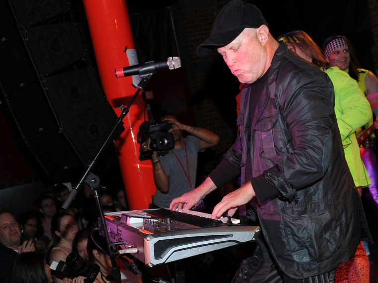 Singer Mike Score of Flock Of Seagulls performs in 2012. Sadly, a hat covers his once-famous 1980s hair.