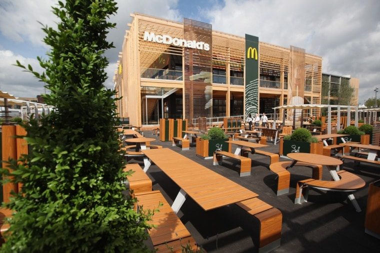 An exterior view of the world's largest McDonald's restaurant and their flagship outlet in the Olympic Park on June 25 in London.