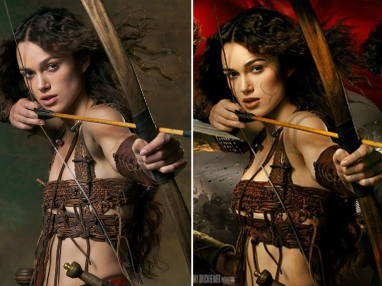 Reality versus illusion: In the retouched version of this movie poster (at right), Keira Knightey's waist shrunk and her cleavage grew.