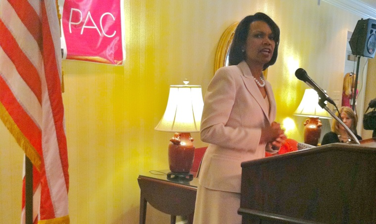 Former Secretary of State Condoleezza Rice speaks at the ShePAC fundraising event in Washington, D.C., June 25.