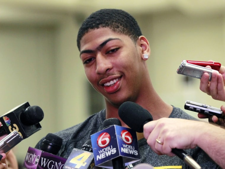 Anthony Davis talks to reporters while visiting the New Orleans Hornets, who have the first pick of the June 28th draft, at their practice facility in Westwego, La., Tuesday, June 19, 2012.