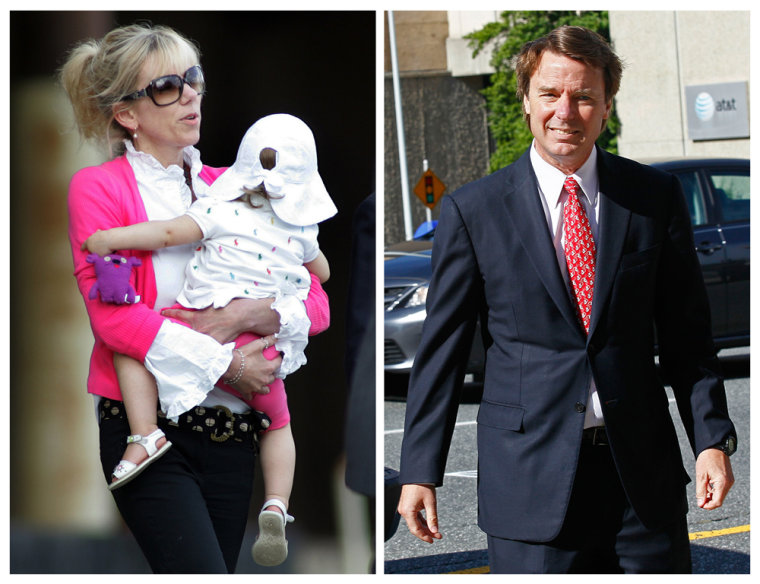 Rielle Hunter, left, is shown Aug. 6, 2009, and former U.S. senator and presidential candidate John Edwards is seen May 10, 2012.