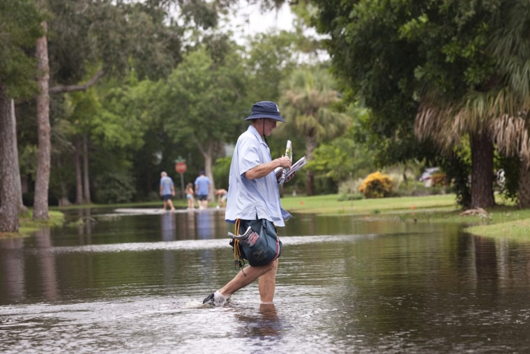 Residents of the Riviera Bay community in St. Petersburg, Fla., experienced flooding after tropical storm Debby stalled over the Gulf of Mexico and dumped over 10 inches of rain on June 25 2012.