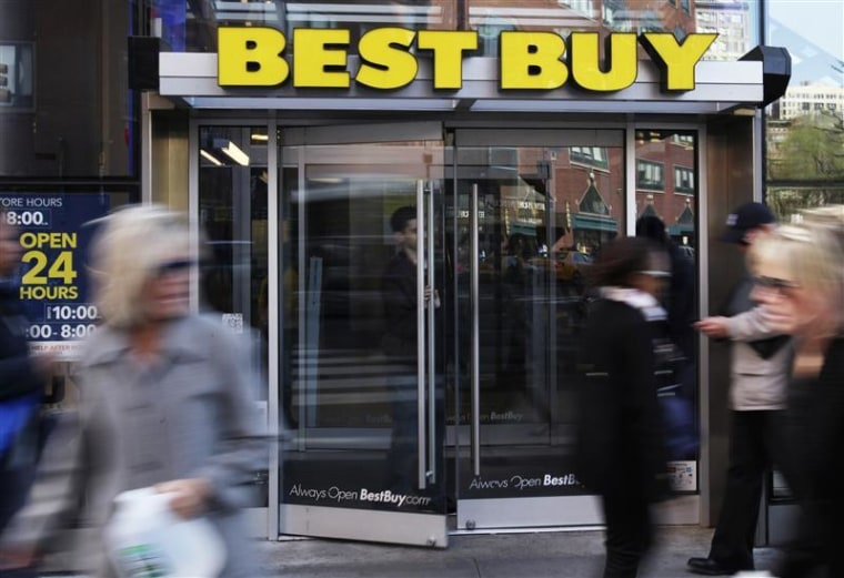 The entrance to the Best Buy store is seen in New York.