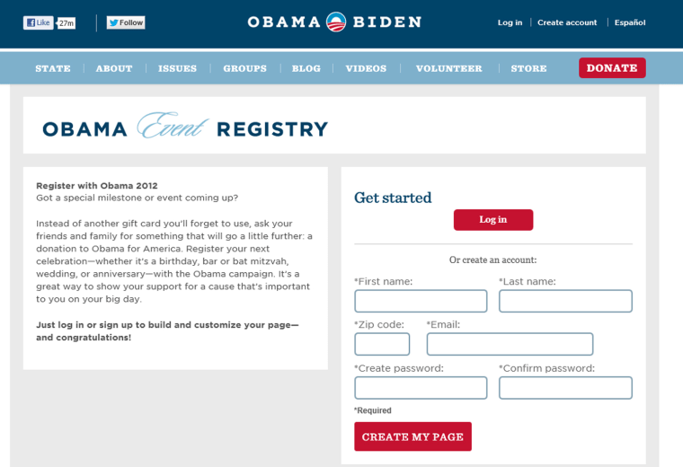 The Obama Campaign's event registry.