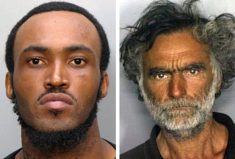 Rudy Eugene, left, was shot after he refused to stop chewing the face of Ronald Poppo, right.