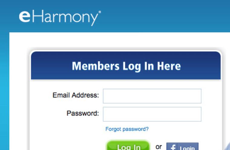 eHarmony login page