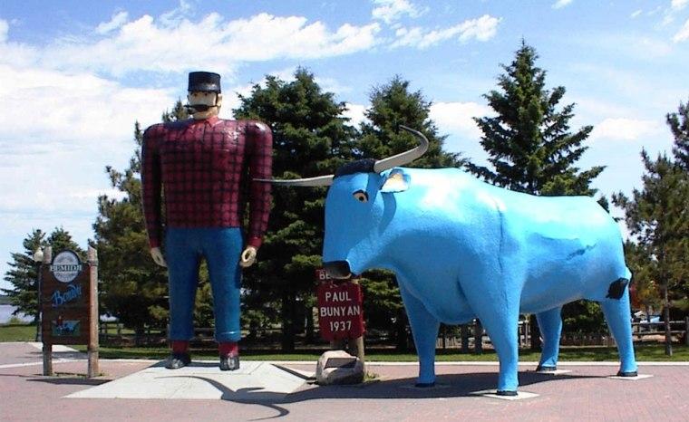 Paul Bunyan and Babe the blue ox in Bemidji, Minn., next to the Tourist Information Center.
