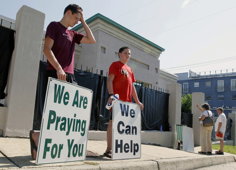 Abortion opponents demonstrate outside Mississippi's only abortion clinic in Jackson on Wednesday.