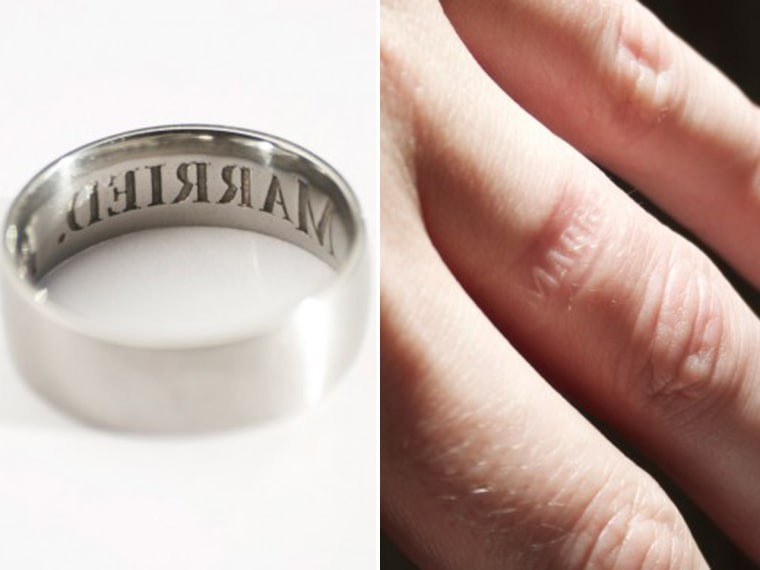 """This exists: A $550 """"anti-cheating"""" wedding ring promises to leave an imprint of """"I'm married"""" on the wearer's finger."""