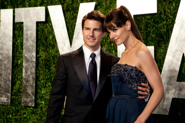 Tom Cruise and Katie Holmes at the 2012 Vanity Fair Oscar party.