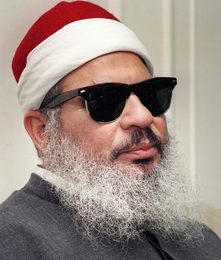 Sheik Omar Abdel Rahman, the blind Egyptian cleric jailed for life over the 1993 World Trade Center bombing, is shown at a 1993 press conference.