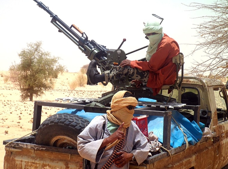 Islamists rebels of Ansar Dine, seen on April 24, 2012 near Timbuktu, Mali, have destroyed the tomb of Saint Sidi Mahmoud.