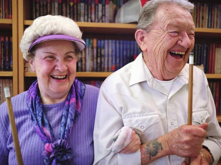 couple.old, tattoo, happy, laugh, senior, pool, stick, date
