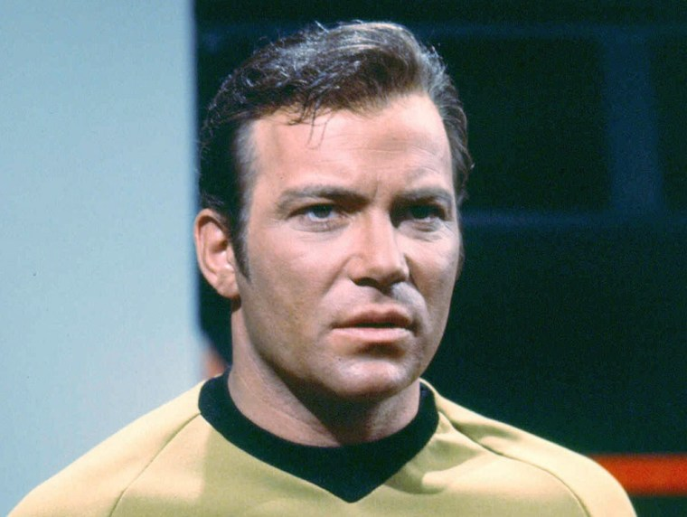 1968: (FILE PHOTO) On September 8, 2011 The Star Trek franchise will celebrate 45 Years since its debut on network Television in America.Please refer to the following profile on Getty Images Archival for further imagery of Star Trekhttp://www.gettyimages.co.uk/Search/Search.aspx?EventId=123017380&EditorialProduct=Archival#Canadian actor William Shatner as Captain James T. Kirk of the Starship Enterprise in the classic science fiction television series 'Star Trek', circa 1968. (Photo by Silver Screen Collection/Getty Images)