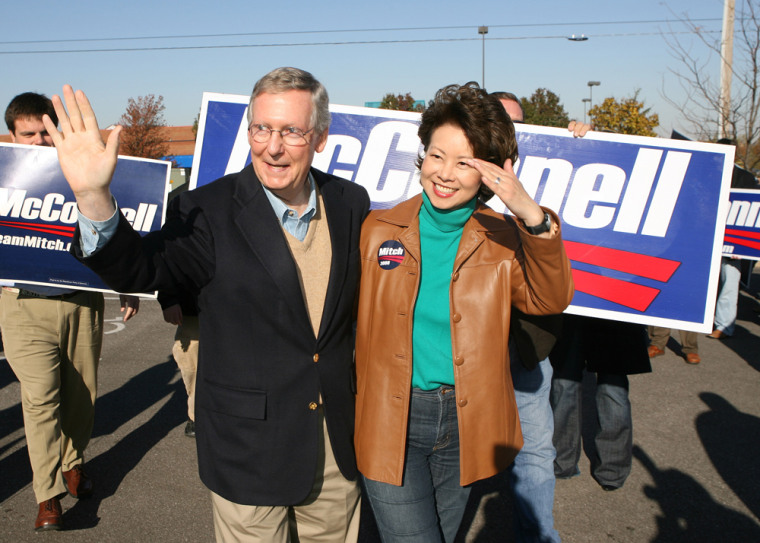 FLORENCE, KY - OCTOBER 31: U.S. Senate Minority Leader Sen. Mitch McConnell (R-KY) (C) and his wife U. S. Secretary of Labor Elaine Chao wave to supporters during a campaign stop on October 31, 2008 in Florence, Kentucky. McConnell is seeking re-election in a tight race with challenger former Kentucky Democratic Party treasurer Bruce Lunsford. (Photo by Mark Lyons/Getty Images) *** Local Caption *** Mitch McConnell;Elaine Chao