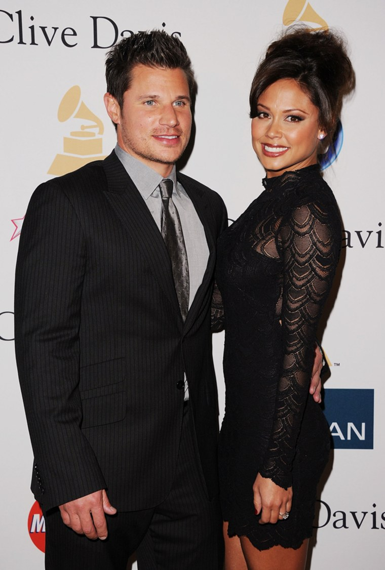BEVERLY HILLS, CA - FEBRUARY 12:  Singer Nick Lachey (L) and actress Vanessa Minnillo arrives at the 2011 Pre-GRAMMY Gala and Salute To Industry Icons Honoring David Geffen at Beverly Hilton on February 12, 2011 in Beverly Hills, California.  (Photo by Jason Merritt/Getty Images)