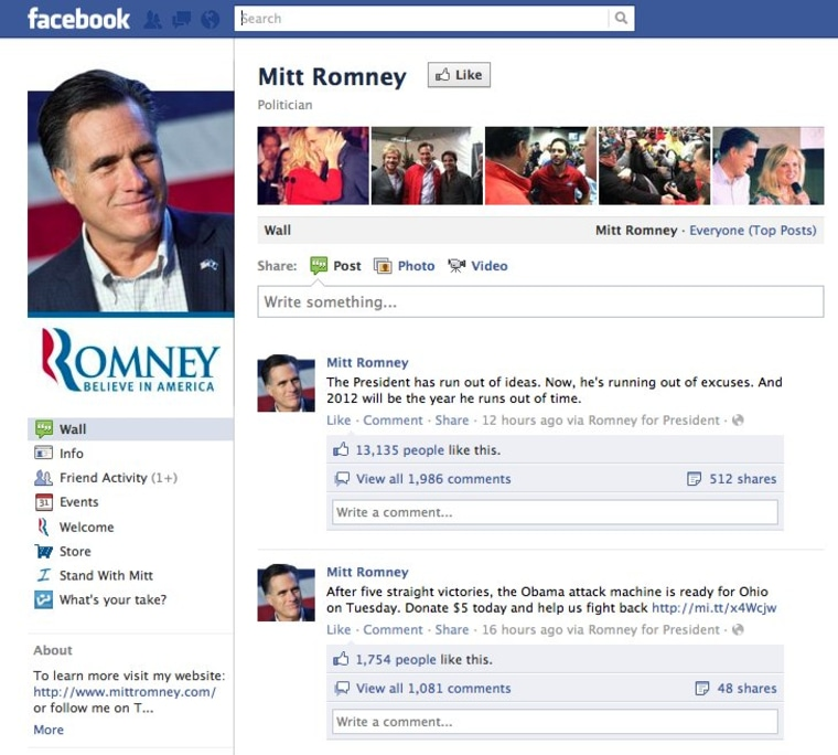 Screenshot of Mitt Romney's Facebook Wall