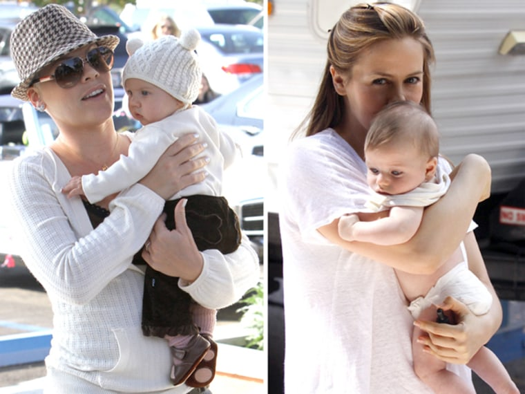 """Pink and daughter, Willow, at a park in Malibu, CA.Alicia Silverstone pictured holding her baby son, Bear Blu, during a break on the set of the \""""Gods Behaving Badly\"""" movie in Brooklyn. Also pictured is Sharon Stone."""