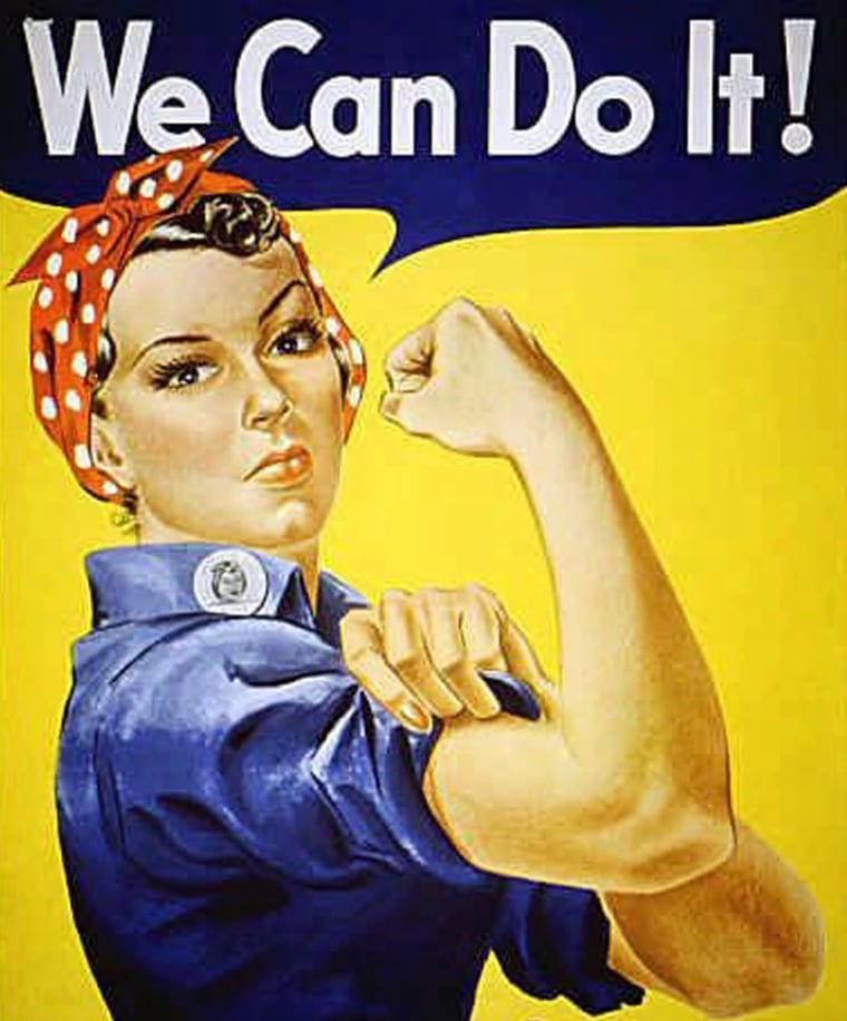 ""\""""Rosie the Riveter"""" dressed in overalls and bandanna was introduced as a symbol of patriotic womanhood in the 1940's.  Rose Will Monroe played  """"Rosie the Riveter,"""" the nation's poster girl for women joining the work force during World War II.  Monroe was working as a riveter building B-29 and B-24 military airplanes at the Willow Run Aircraft Factory in Ypsilanti, Mich., when she was asked to star in a promotional film about the war effort.  (AP Photo)""760|916|?|en|2|bed3fb044871f19bb19043e2b1a1a2da|False|UNLIKELY|0.28091415762901306