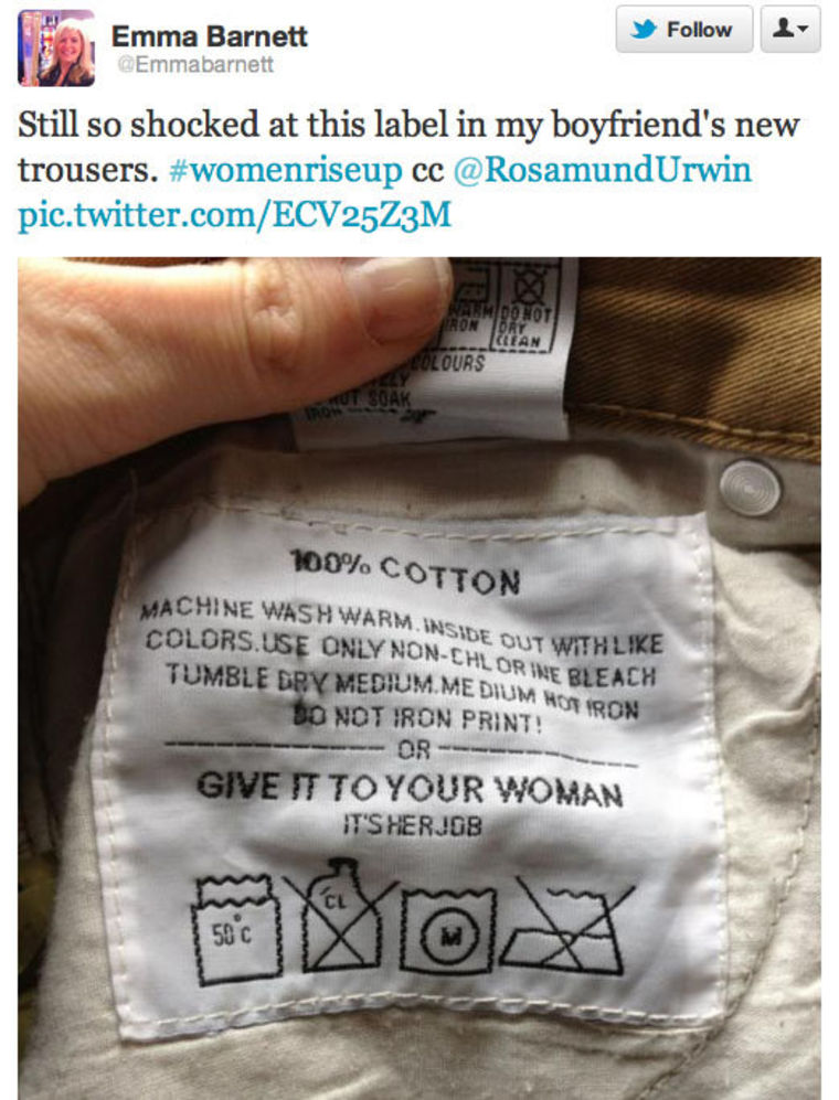 The Daily Telegraph's female digital media editor was not amused by the washing instructions.